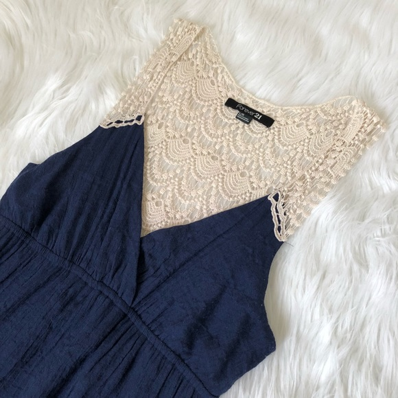 Forever 21 Dresses & Skirts - Navy Blue Crochet Maxi Dress